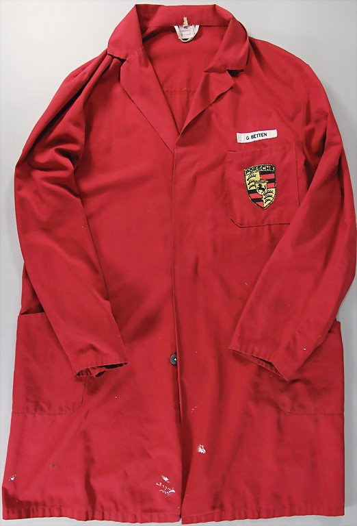 PORSCHE master work coat of employee, c. '80s, worn