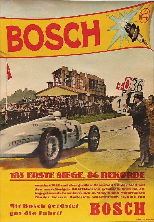 AUTO-UNION/BOSCH Germany 1937, Bosch racing poster: