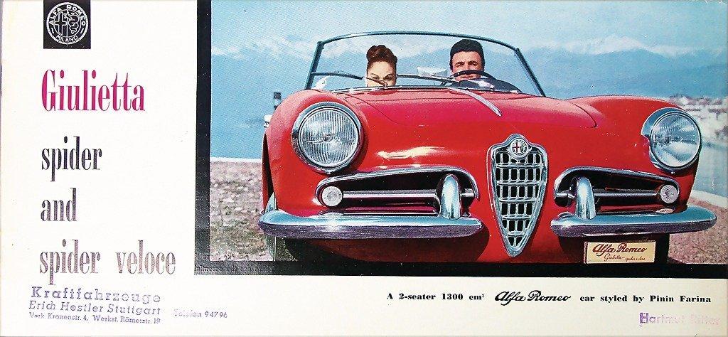 ALFA ROMEO sales brochure 1958 Giulietta Spider and