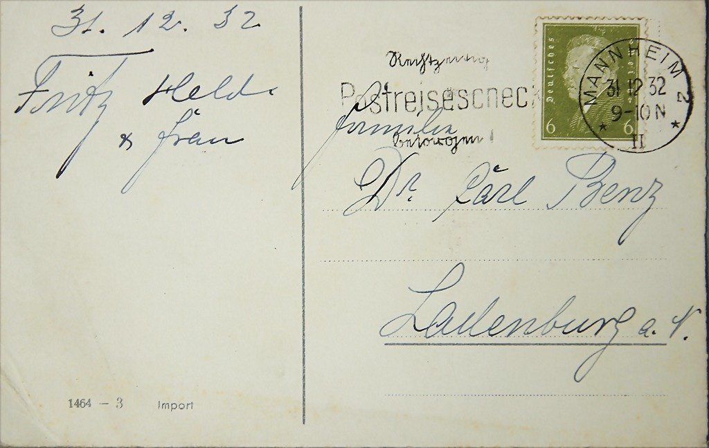 FAMILY Dr. CARL BENZ, LADENBURG/FRITZ HELD postcard