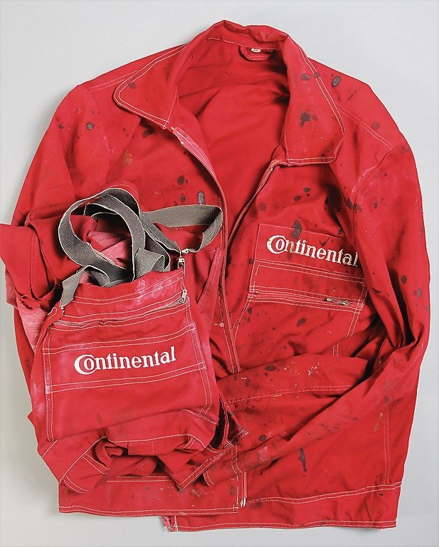 CONTINENTAL red overall '50s, trousers and jacket with