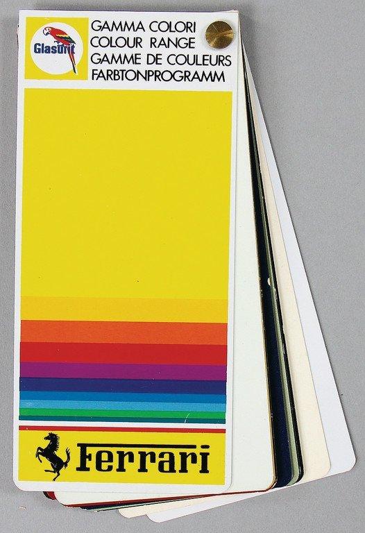 FERRARI/GLASURIT colour sample card from 1/89, with 18