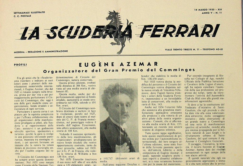 "FERRARI newspaper ""La Scuderia Ferrari"" Anno V-N.11,"