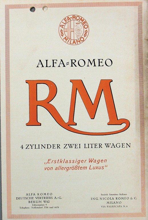 ALFA ROMEO D: 1925, fold-out brochure Alfa Romeo RM, 4