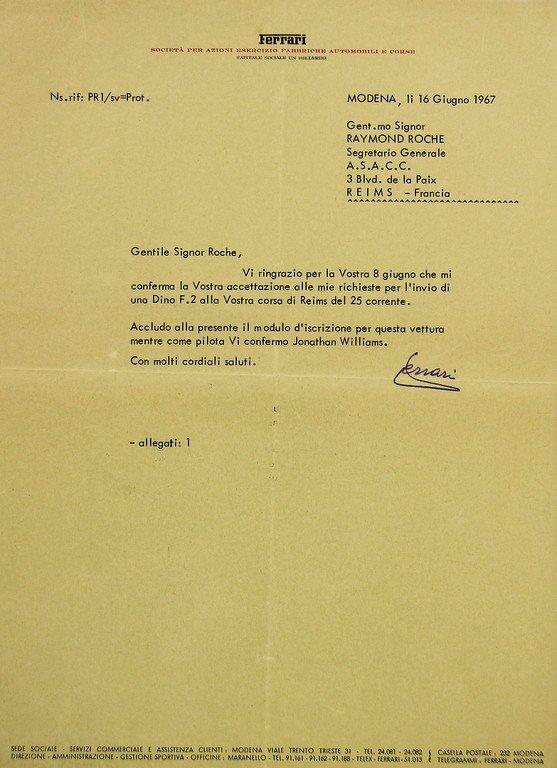 ENZO FERRARI/RAYMOND ROCHE Modena June 1967, writings