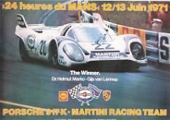 "racing poster, ""24 Heures du Mans 1971"" motif Porsche"