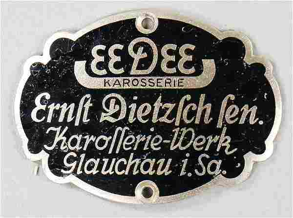 "EEDEE coachwork emblem ""Eedee Karosserie Ernst Dietrich"