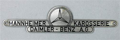 "DAIMLER BENZ AG rare coachwork emblem ""Mannheimer"