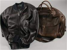 PORSCHE bag from leather and also a leather jacket of