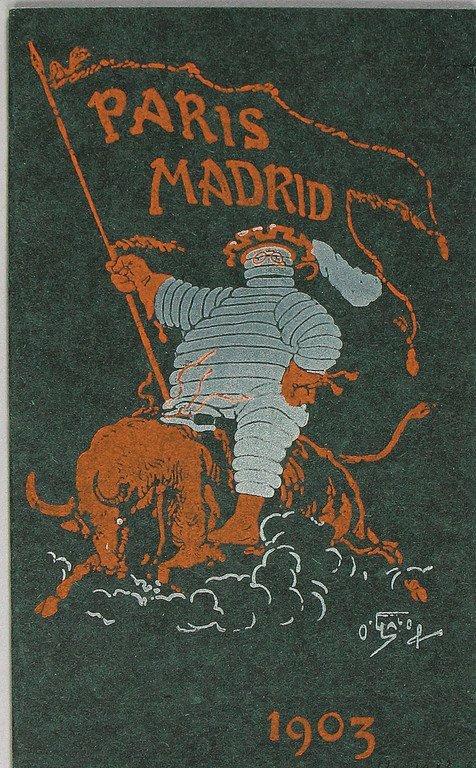 absolutely rare racing programme Paris-Madrid 1903,