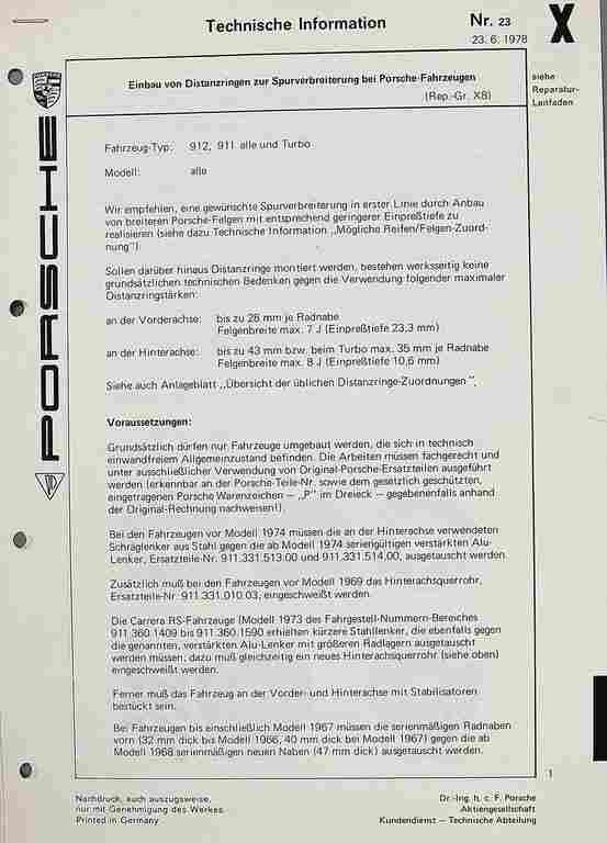 PORSCHE Technical information from 1978, wheel spacer