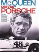 "PORSCHE 1970 racing poster ""McQueen Drives Porsche"","