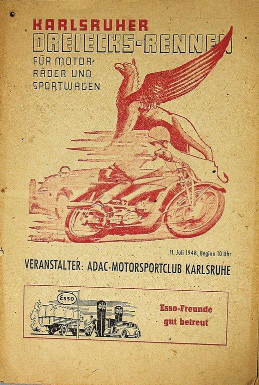 """Racing programme """"Karlsruher Dreiecks-Rennen"""" for"""