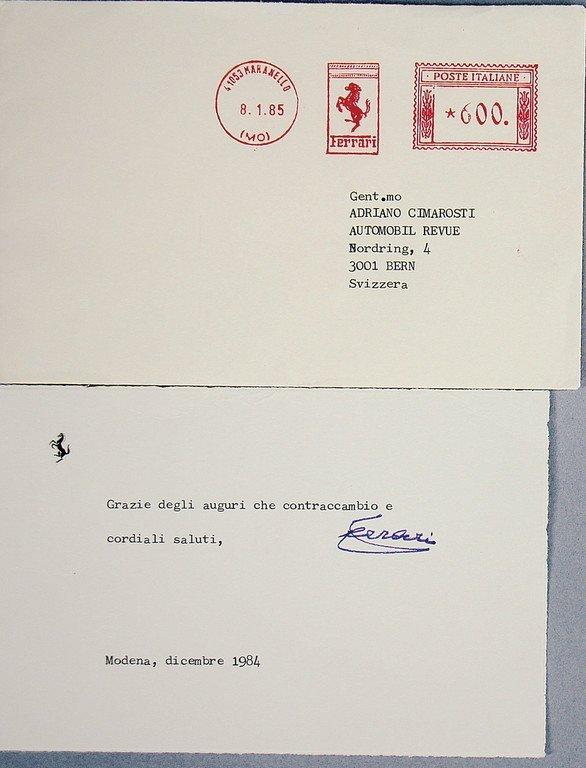 ENZO FERRARI Letter of appreciation to Adriano