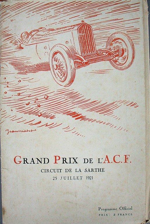 Racing programme Grand Prix de l'acf 1921, high-quality