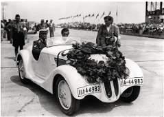 BMW Original B/W photo Eifel race 1937, the winner Fane