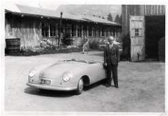 PORSCHE June 1948 original BW photo Otto Huslein with
