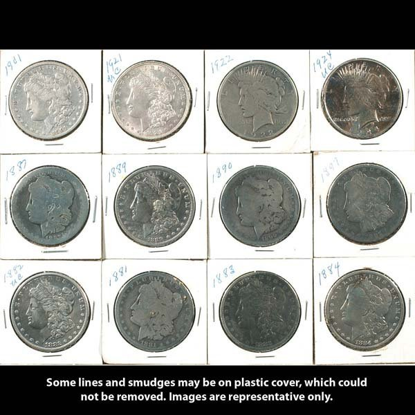1: Twelve collectible silver dollars. Ten Morgan dollar