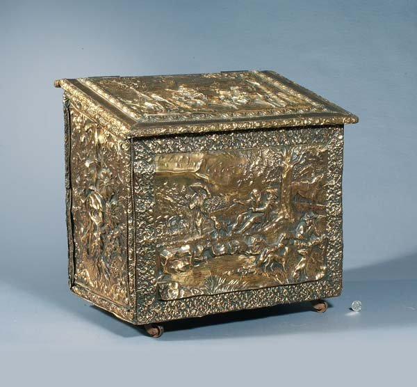 6: Slant-top repoussé brass-covered wood storage box on