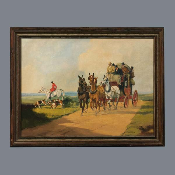 7: A decorative canvas coaching scene in a wooden frame