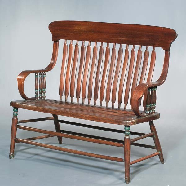 9: Country oak settee with scroll arms and green painte