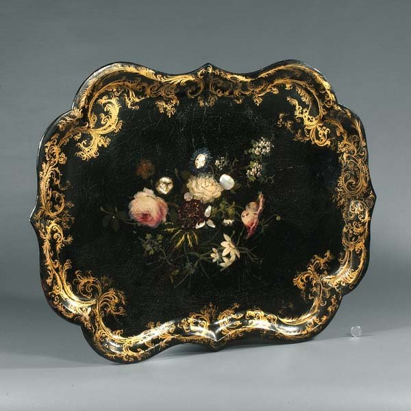 10: 19th Century Papier Maché tray with yellow roses wi