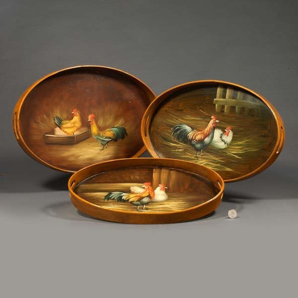 13: Set of three wooden nesting trays with rooster pain
