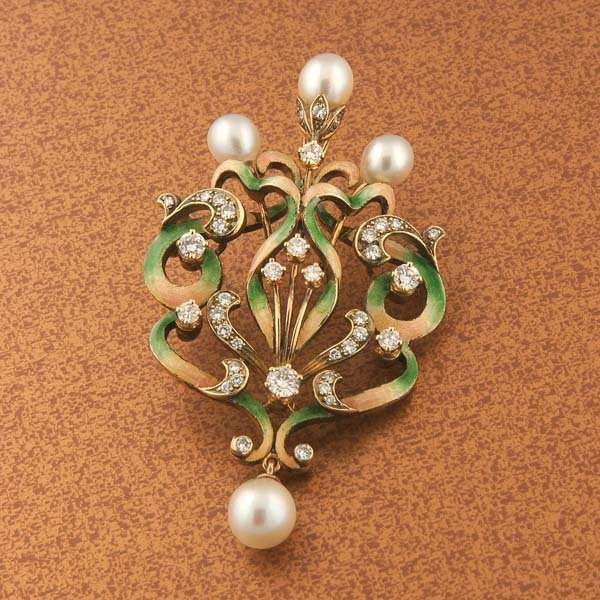 14: 14kt Gold Pearl and Diamond Enameled brooch/pendant