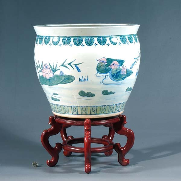 18: Blue and mauve Oriental ceramic fish bowl with rose