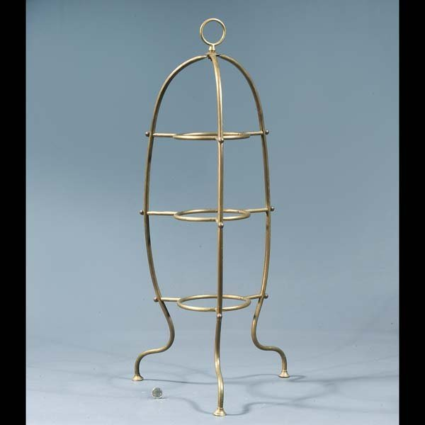 """20: Antique patina brass three tier plate stand. 34""""T"""