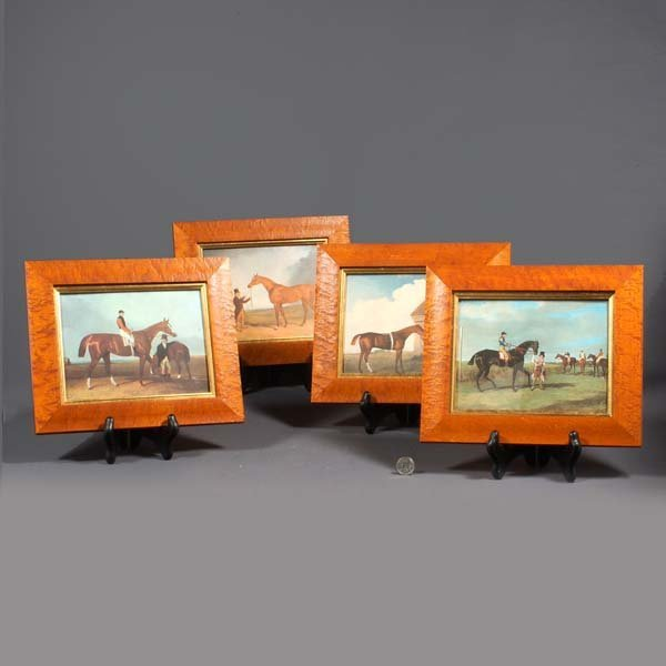 22: Four lovely wood framed prints of Thoroughbred Race