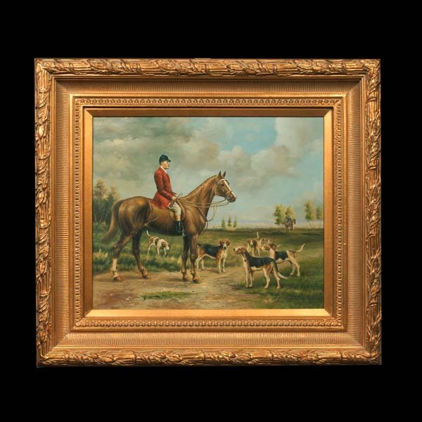 23: Hunt scene painting, oil on canvas, man on a chestn