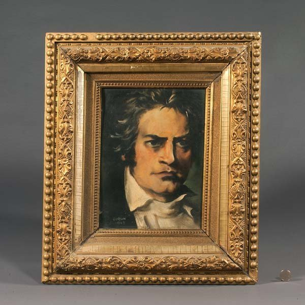 75: Oil painting on board, portrait of Beethoven, signe