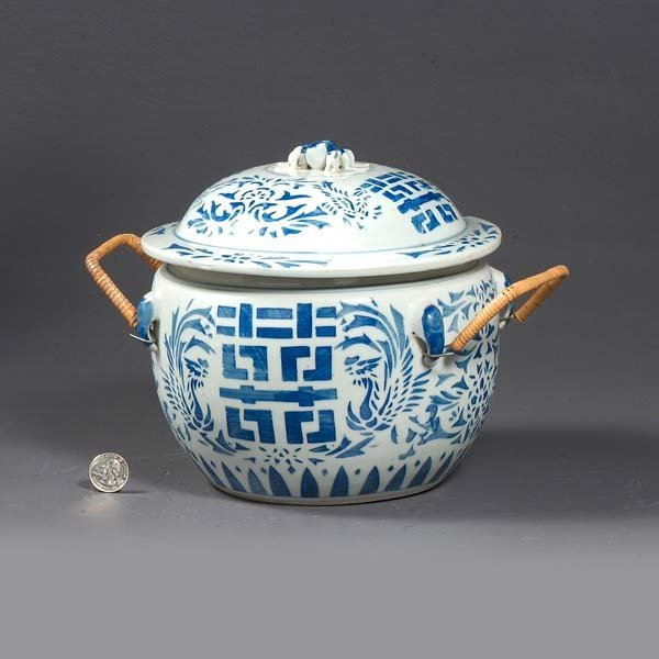 1: Oriental blue and white porcelain pot with lid and b