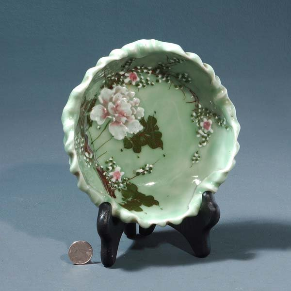 3: Antique Chinese celadon porcelain bowl with a branch