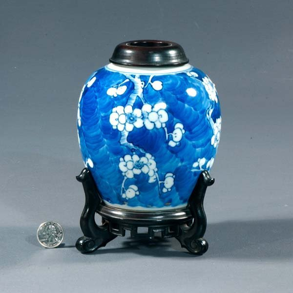 10: Blue and white porcelain ginger jar with fitted sta