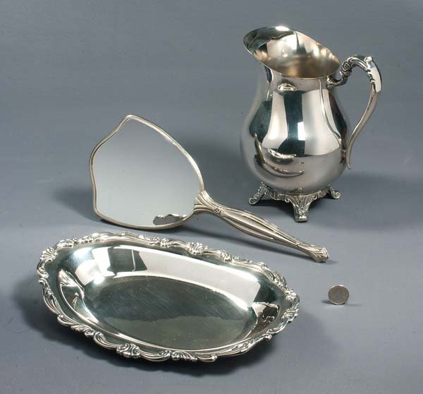 17: Assortment of silver, including a silver serving tr
