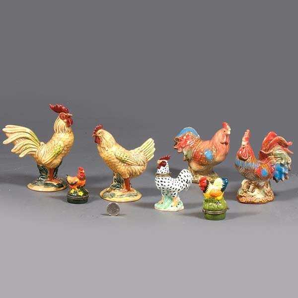 20: Collection of four vintage ceramic roosters and hen