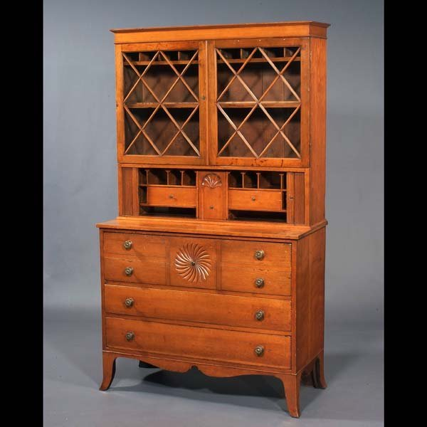 84: American (New York) Secretary with tambour doors an