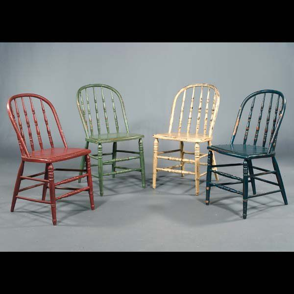 159: Four country sack back Windsor-style side chairs w
