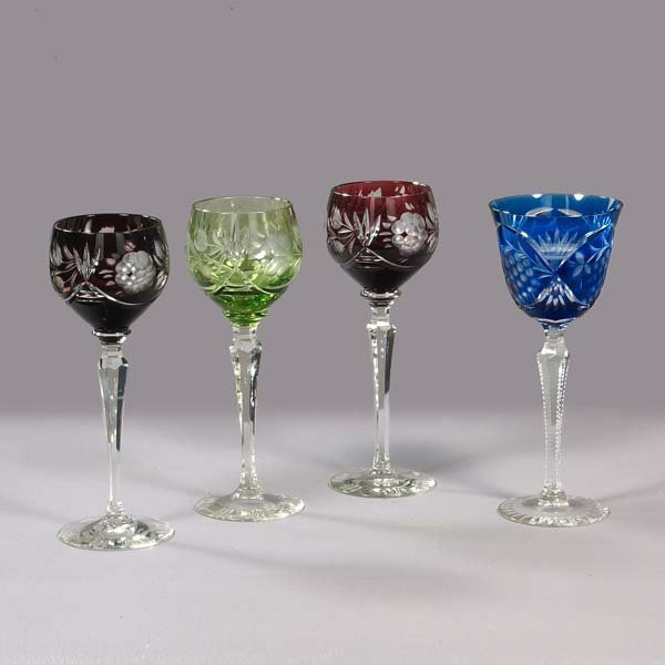 3: Crystal wine goblets, three cut-to-clear long stem