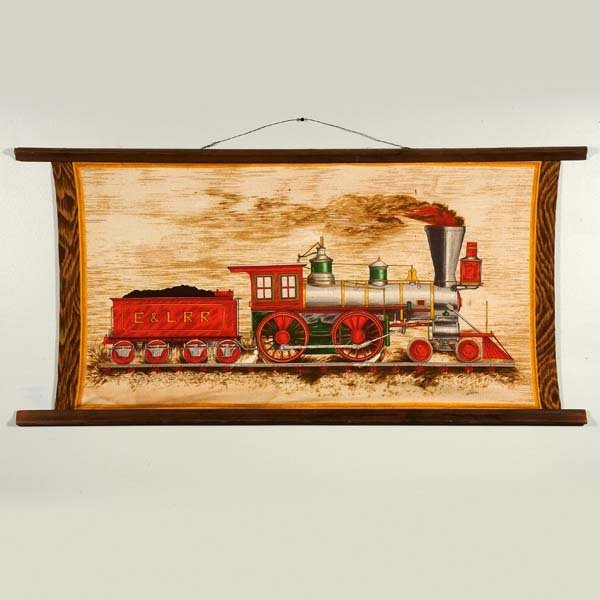 4:Wesco Reltex fabric wall hanging of locomotive. Vinta