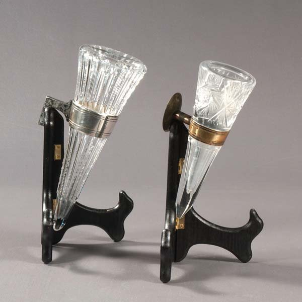 5: Crystal hearse flower vases. Two cut crystal vases