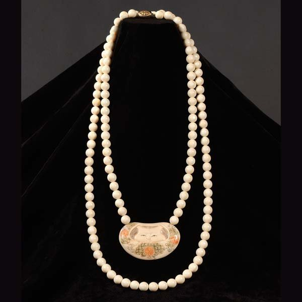 6: Ivory necklaces. One beaded necklace with ivory