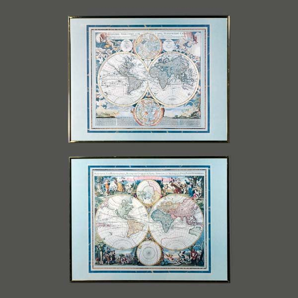 9: World globes prints with mythical figures. A pair of