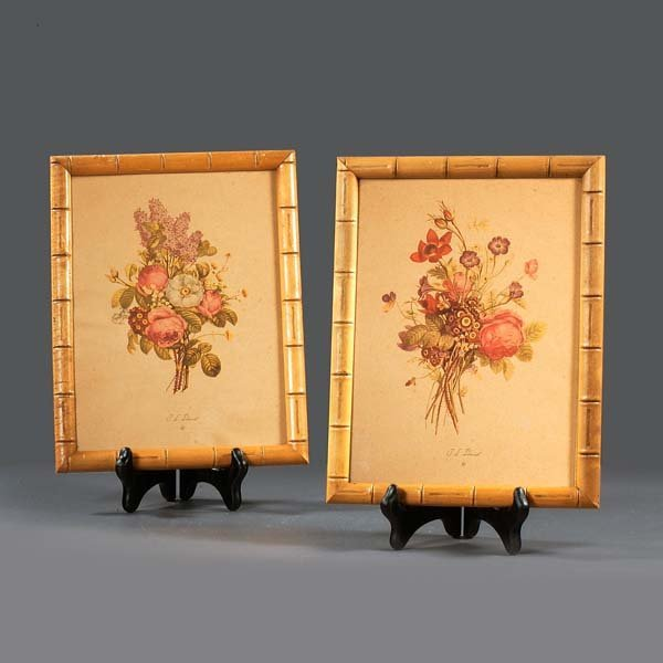 "17: Floral prints by ""T. L. Trevost. A pair of vintage"