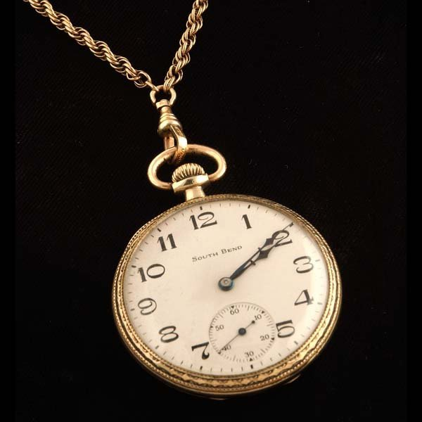 22: South Bend pocket watch and chain, gold,