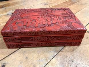 Chinese Carved Cinnabar Box w/ 2 Trays