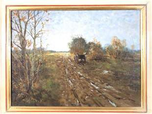 """""""Wagon On Road in Late Fall"""" Oil On Canvas"""