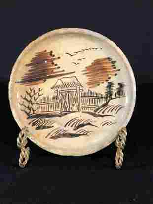 Edo Period 19.Century Seto Oil Lamp Stoneware Plate